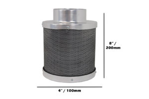 Carbon Filter 4″ [100mm] x 200mm 50mm carbon bed  :  4inch  200mm
